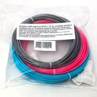 Комплект ABS-пластика ESUN 1.75 мм. для 3D ручек (голубой, розовый, серебряный), 10 метров каждого